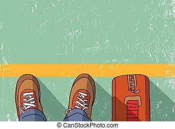 viaje, standing., inmigración, hombre, repatriation, ...