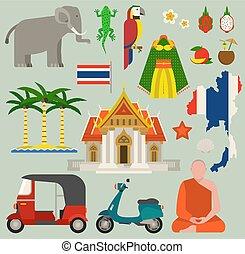 viaje, tailandia, plano, iconos, diseño, vector, illustration., bangkok, cultura, tailandia, viaje, mundo, architecture., asiático, feriado, paisaje, tailandés, mapa, tailandia, viaje, concepto, viaje, iconos