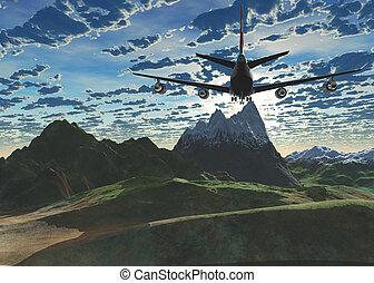 viaje, tema, Ilustración, línea aérea