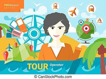 viaje, tenencia, indicadores, hembra, globo, agente