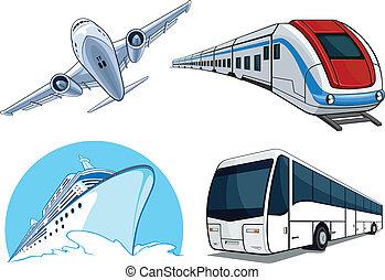 viaje, transporte, airplan, -, conjunto