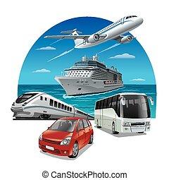 viaje, transporte