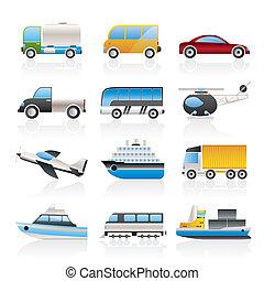 viaje, transporte, iconos