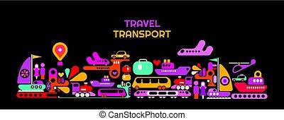 viaje, transporte, vector, ilustración