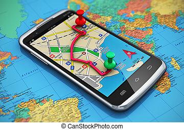 viaje turismo, gps, concepto, navegación