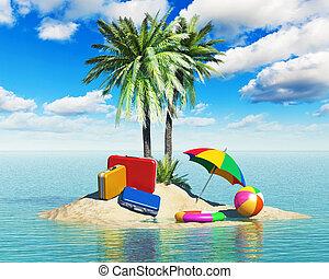 viaje, turismo, y, vacaciones, concepto