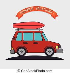 viaje, vacaciones, campamento
