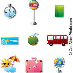 viaje, vacaciones, ilustración, iconos