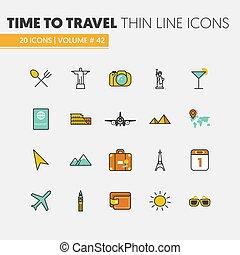 viaje, vacaciones, lineal, línea fina, vector, iconos, conjunto, con, avión, y, famoso, arquitectura de mundo