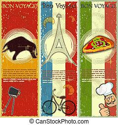viaje, vector, -, español, tarjeta, estilo, tema, conjunto, ...
