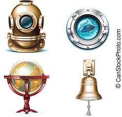 viaje, vector, icons., marina