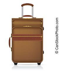 viaje, vector, ilustración, maleta