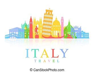 viaje, vector, italia, señales