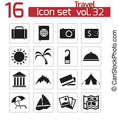 viaje, vector, negro, conjunto, iconos