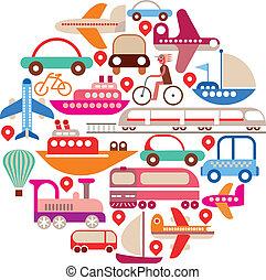 viaje, vector, -, redondo, transporte