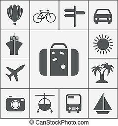 viaje, vector, silueta, icono, conjunto
