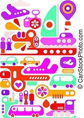 viaje, vector, transporte, ilustración