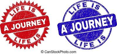 viaje, vida, superficie, sellos, estampilla, redondeado, escarapela, caucho