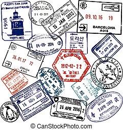 viaje, visa, plano de fondo, sellos, pasaporte