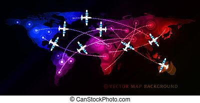 viaje, vuelo, aire