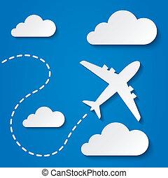 viaje, vuelo, avión, clouds., fondo., papel