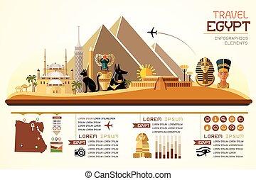 viaje, y, señal, egipto