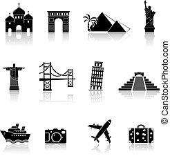 viaje, y, señales, iconos