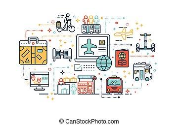 viaje, y, transporte, concepto