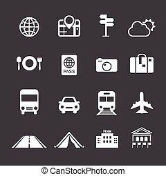 viaje, y, transporte, iconos