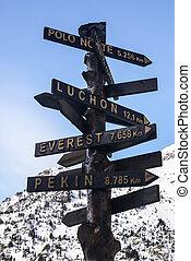 viaje, y, vacaciones, concept., dirección, a, diferente, lugares, de, el mundo, indicado, en, el, signo.