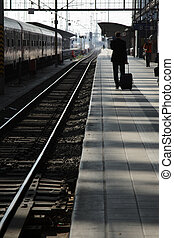 viajero, ferrocarril, platform.