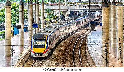 viajero, malasia, tren, kuala, estación, lumpur