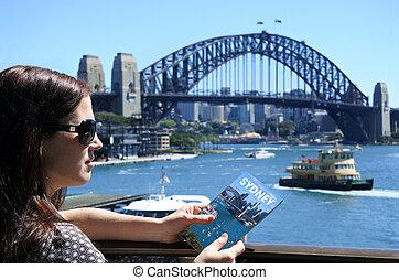 viajero, mujer, australia, visita, sydney
