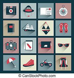 viajero, plano, retro, colección, icono