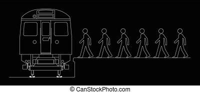 viajeros, entablado, un, tren