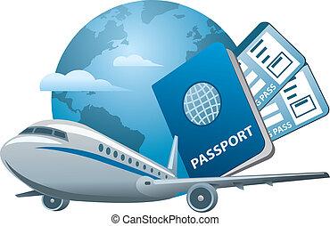 viajes aéreos, concepto