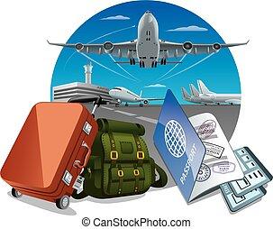 viajes aéreos, y, viaje