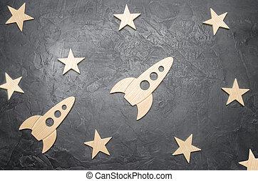 viajes, concepto, stars., estrellas, cohete, espacio, de...