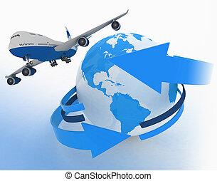 viajes, mundo, avión, alrededor