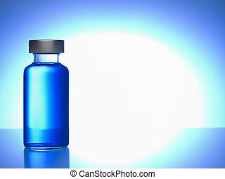Close up of a vial filled with blue liquid. Copy space.