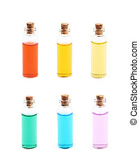 Vial filled with colored liquid