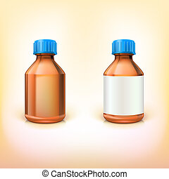 Vial for drugs. Two medical bottles with blank label on...