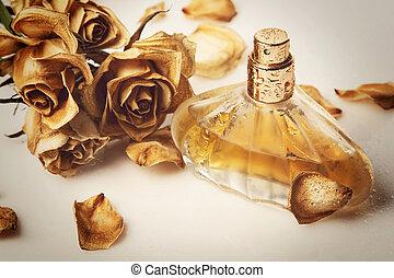 vial, i, parfume, og, udtørr, rose, blomst