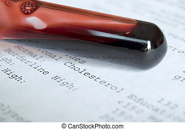 vial of blood, medical test results