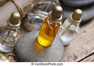 Vials of perfume oils in fragrance lab - Vials of perfume ...