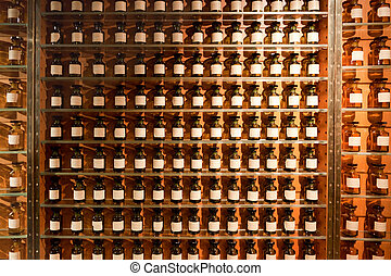 Vials with fragrances in the perfume shop.