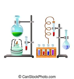 Vials with liquid reagents. Chemistry lesson in school and ...