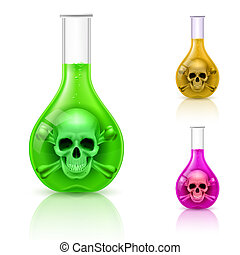 Three vials with poison on white. Color variations.