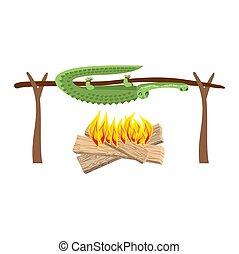 viande, alligator., spit., crocodile, torréfaction, grillé, croc, barbecue