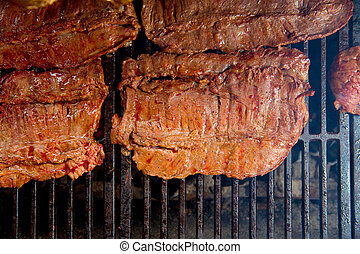 viande, boeuf, braise, fumée, grillé, barbecue